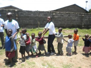 Volunteering at the orphanage in Nakuru, Kenya.